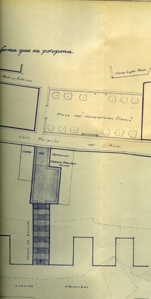Planos de conexión entre la ciudad y el ensanche a través de la antigua Fonda de los Artiles (1961)