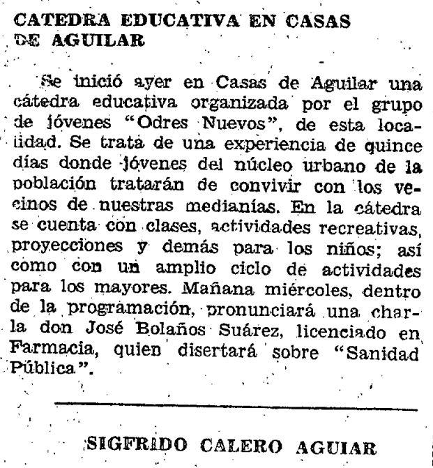 Artículo publicado en La Provincia el 12 de julio de 1977