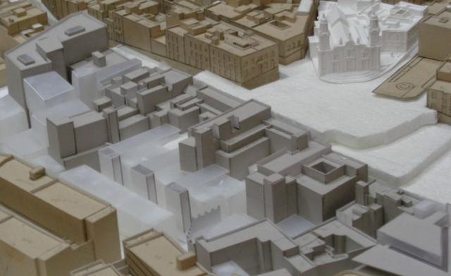 Maqueta que dirige Juan Luis y trata de modelizar las futuras intervenciones en la ciudad